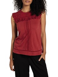 Fat Face Lovissa Lace Top Washed Red