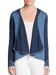 Candc California Marled Open Front Cotton Hoodie Indigo