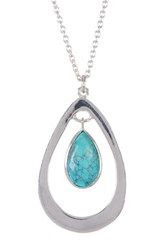 Argentovivo Sterling Silver Turquoise Teardrop Necklace Metallic