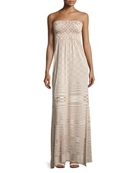 Neiman Marcus Striped Smocked Strapless Maxi Dress Sand Combo