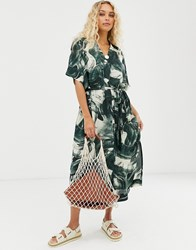 Weekday Brushstroke Print Shirt Dress In Green Multi