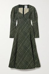 Rosie Assoulin Don't Call Me Sweetheart Checked Stretch Cotton Blend Midi Dress Dark Green