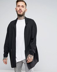 Asos Oversized Drapey Jersey Overcoat With Zip Black