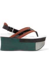 Marni Leather Trimmed Neoprene Platform Sandals Chocolate