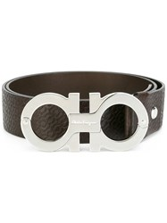 Salvatore Ferragamo All Over Double Gancini Belt Brown