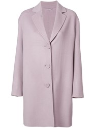 Luisa Cerano Buttoned Single Breasted Coat Pink And Purple