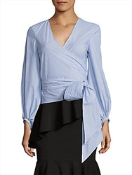 Crosley Blouson Sleeve Striped Poplin Wrap Top Blue White
