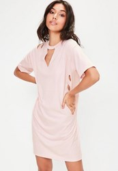 Missguided Tall Pink Ripped Oversized T Shirt Dress