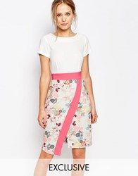 Closet 2 In 1 Dress With Wrap Skirt And Contrast Multi Floral