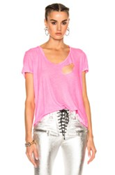 Unravel For Fwrd Basic Tee In Pink Neon Pink Neon