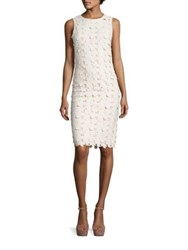 Alice Olivia Fey Embroidered Faux Leather Lace Dress Cream