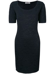 D.Exterior Textured Knit Dress Blue