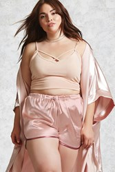 Forever 21 Plus Size Satin Shorts Light Pink Pink