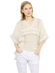 Isabel Marant Fringed Short Sleeve Cotton Sweater Ivory