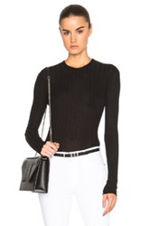 Anthony Vaccarello Rib Knit Sweater In Black