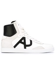 Armani Jeans Hi Top Lace Up Sneakers White