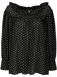 Alexa Chung Polka Dotted Loose Blouse Black