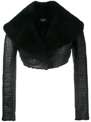 Alaia Cropped Sheepskin Jacket Black