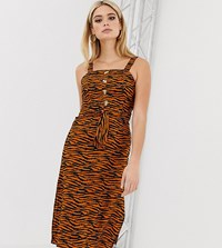 Missguided Tall Midi Dress With Square Neck In Tiger Print Multi