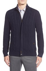 Men's Ted Baker London 'Hofman' Cable Knit Zip Sweater Navy