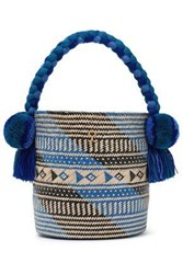 Yosuzi Woman Safira Embellished Woven Straw Bucket Bag Blue