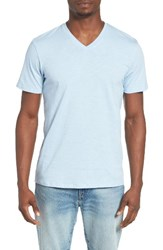 The Rail Men's Slub Cotton V Neck T Shirt Teal Jadeite