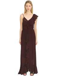 Mes Demoiselles Ruffled Silk Georgette Long Dress Purple