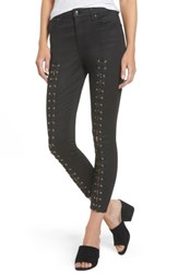Topshop Women's Jamie Coated Lace Up Skinny Jeans Black