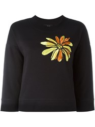 Boutique Moschino Floral Embroidery Sweatshirt Black