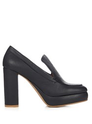 See By Chloe Liza Leather Platform Pumps Navy