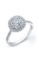 Women's Bony Levy Pave Diamond Leaf Engagement Ring Setting White Gold Nordstrom Exclusive
