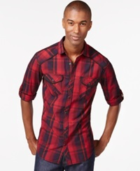 Inc International Concepts Zamire Plaid Long Sleeve Shirt Only At Macy's Banner Red