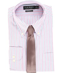 Lauren Ralph Lauren Non Iron Poplin Stretch Classic Fit Button Down Collar Stripe Dress Shirt Pink Peony Men's Clothing