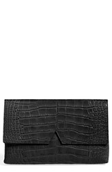Vince Croc Embossed Leather Clutch Black