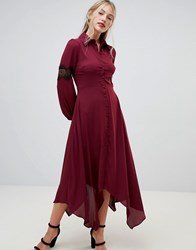 Hope And Ivy Long Sleeve Dip Hem Shirt Dress With Lace Insert Red