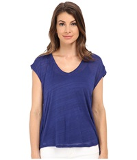 Splendid Space Dye Luxe V Back Tee Deep Royal Women's T Shirt Blue