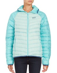 Jack Wolfskin Colorblocked Down Puffer Coat Blue