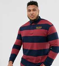 Tom Tailor Plus Stripe Rugby Shirt Red