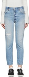 Re Done Blue Distressed High Rise Ankle Crop Jeans