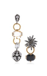 Marni Asymmetrical Earrings With Strass In Black And Gold Silver