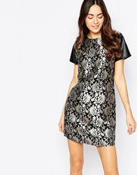 Sugarhill Boutique Jacquard Dress Black Gold