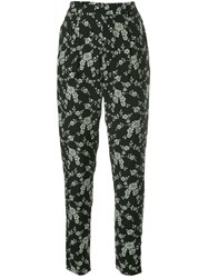 Co Floral Print Tapered Trousers Black