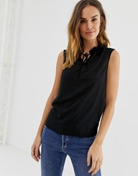 Naf Naf Woven Top With Bow Neck Detail Black