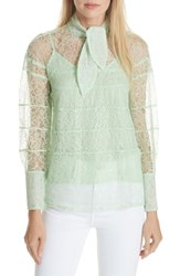 Sandro Tie Neck Lace Blouse Green