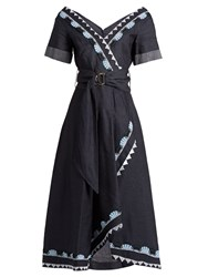 Peter Pilotto V Neck Cotton And Linen Blend Dress Navy