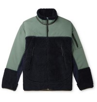 J.Crew Panelled Fleece And Shell Jacket Indigo