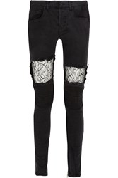 Finds Lace Paneled Mid Rise Skinny Jeans Black