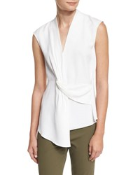 Veronica Beard Dixon Sleeveless Draped Ponte Top White
