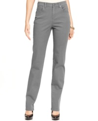 Style And Co. Straight Leg Tummy Control Jeans Colored Wash Graphite Grey