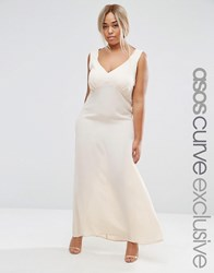 Asos Curve Premium Maxi Slip Dress With Tie Back And Ruched Detail Nude Pink